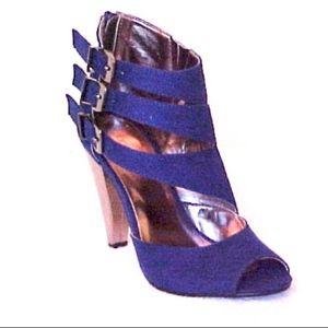 NEW Ankle sandal boots gunmetal cobalt vegan suede